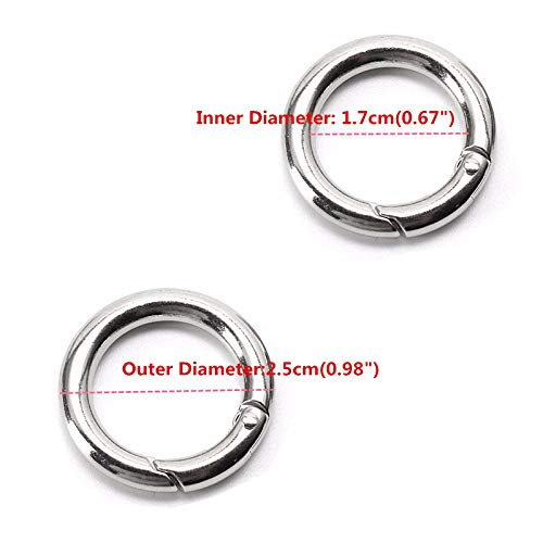 Emivery 6pcs 25mm Gate O Ring,Mini Circle Round Carabiner Spring Snap Clip Hook Keychain Connection Aluminum Alloy Ring