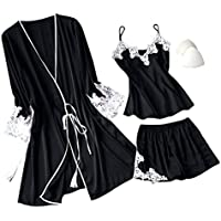 Cliramer Lingerie Womens Silk Lace Robe Sleepwear Pajamas Set