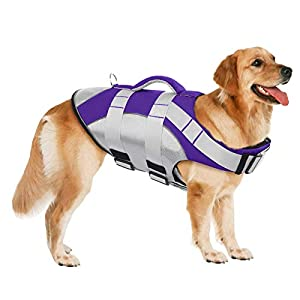 SUNFURA Pet Life Jackets, Summer Dog Float Coat with Reflective Strips and Rescue Handle, Adjustable Ripstop Pet Life… Click on image for further info.