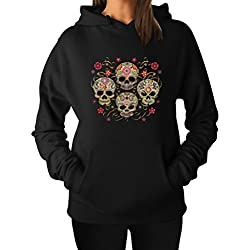 TeeStars Women's - Sugar Skulls Hoodie Small Black