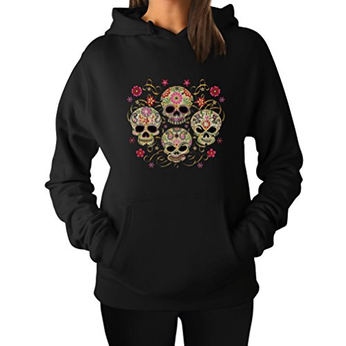 Rose Eye Sugar Skulls - Day of The Dead Gothic Women's Hoodie Small Black ()
