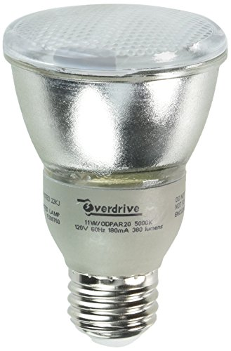 Overdrive 11W/ODPAR20/50K (Pack 35-Watts Equivalent Incandescent, 11W PAR20 Reflector Compact Fluorescent Light Bulb, gt80 CRI, Full Spectrum, Daylight 12 Piece ()