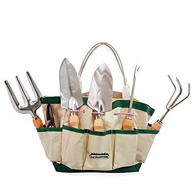 SANTA & RUDOLPH OFFER - GardenHOME 7 Piece Garden Tool Set (Garden Tool and Tote Set)