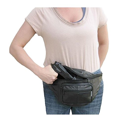 - Leather Concealed Carry Fanny Pack - Gun Conceal Purse / Bag fits up to 48inch Waist - For Men & Women