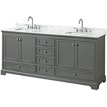 Wyndham Collection Deborah 80 Inch Double Bathroom Vanity In Dark Gray White Carrara Marble Countertop Undermount Square Sinks And No Mirror