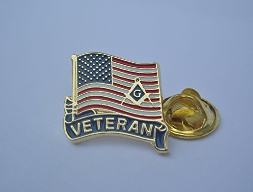 - Essentials Collection Masonic Freemason USA Veteran Flag Armed Forces Lapel Pin