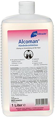 Meditrade 00983D Alcoman Händedesinfektionsmittel, 1 L Flasche