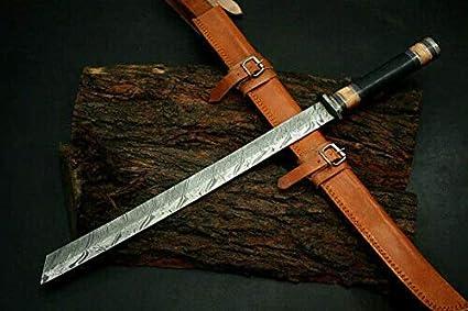 custom handmade DAMASCUS STEEL black micarta SWORD with leather sheath