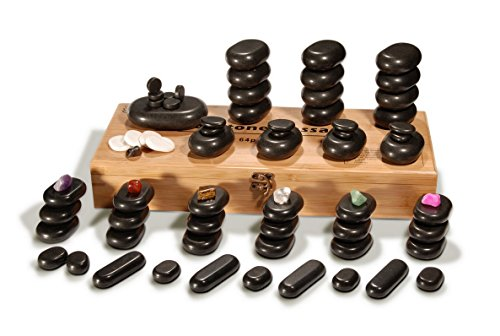 Master Massage Deluxe 70 Piece Basalt Massage Hot Stone Rock Set With Bamboo Box from Master Massage