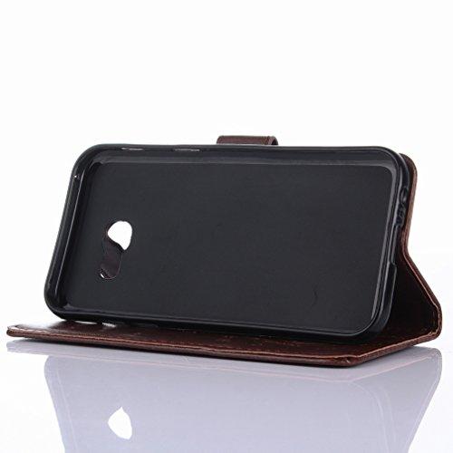 Yiizy Samsung Galaxy A5 (2017) Custodia Cover, Erba Fiore Design Sottile Flip Portafoglio PU Pelle Cuoio Copertura Shell Case Slot Schede Cavalletto Stile Libro Bumper Protettivo Borsa (Marrone)