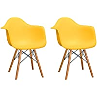 Mod Made Mid Century Modern Paris Tower Dining Arm Chair Wood Leg, Yellow, Set of 2