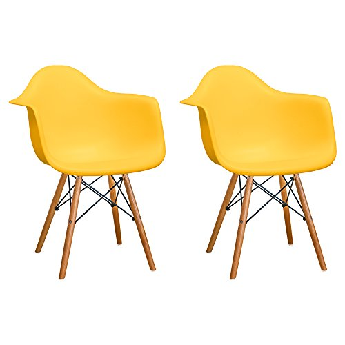 Mod Made Mid Century Modern Paris Tower Dining Arm Chair Wood Leg, Yellow, Set of 2 (Chairs Cheap Replica)