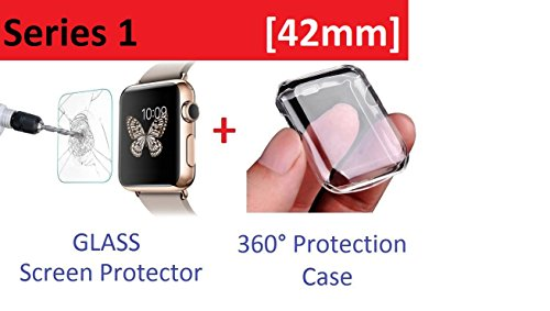 Apple Watch Case Series 1 42mm, Amazingforless Tempered Glass Screen Protector for Apple Watch Series 1 and Ultra-thin Clear HD Case (1 Glass)