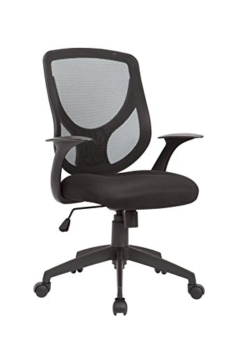 AC Pacific Contemporary Gas Lifted Mesh Upholstered Adjustable Swivel Office Chair with Caster Wheels, Black