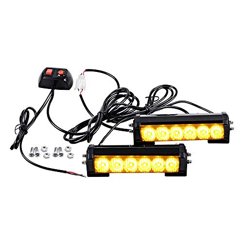 Amber 6-LED Car Strobe Lights Vehicle Emergency Beacon Warning Caution Hazard Strobe Flash Light Waterproof Safety LED Daytime Running Lights 12V DC (2X, Amber)