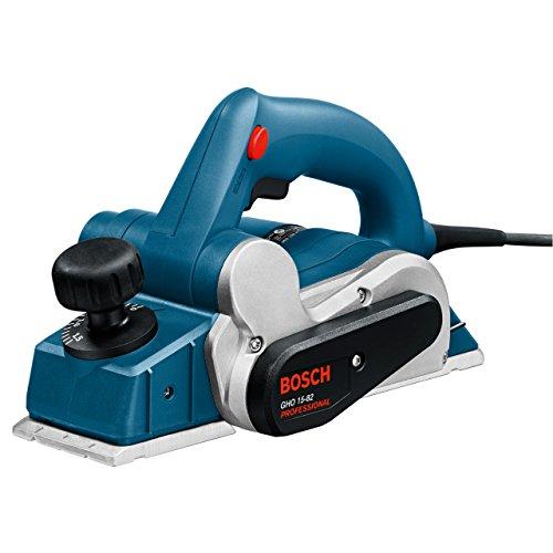 Bosch Professional GHO 15-82, 600 W Nennaufnahmeleistung, 82 mm Hobelbreite, 0 - 1,5 mm Spandicke einstellbar, Parallelanschlag, Staubbeutel