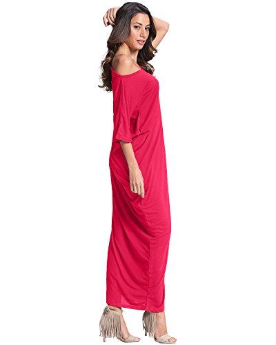 ZANZEA Vestido Arrugado Maxi Elegante Fiesta Noche Cóctel Algodón Cuello Barco Mangas Cortas Mujer Rosa