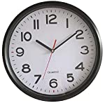 Vmarketingsite - Modern Round Black Wall Clock Large Numbers - Silent Non-Ticking Quartz Decorative Analog Wall Clocks Battery Operated - Office/Kitchen/Bedroom/Bathroom/Gym