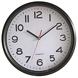 Vmarketingsite - 12 Inch Modern Round Black Wall Clock Large Numbers - Silent Non-Ticking Quartz Decorative Analog Wall Clocks Battery Operated - Office/Kitchen/Bedroom/Bathroom/Gym