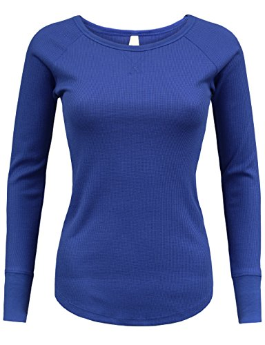 BEKDO Womens Lightweight Micro Waffle Long Sleeve Raglan Thermal -L-ROYAL_BLUE