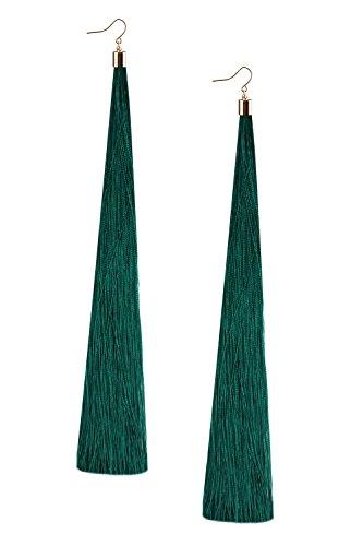 Mina Gold Long Tassel Draping Extra Long 8.5 Inch Flowy Shoulder Duster Dark Green Earring