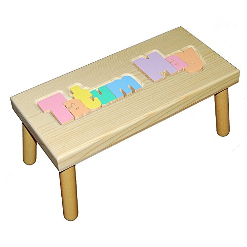 Personalized Wooden Child's Name Puzzle Stool PASTEL - LARGE