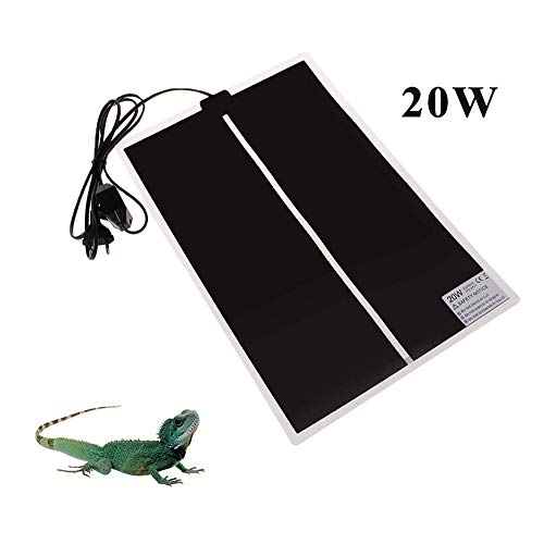 TESLUCK Reptile Heating Pad, 20W 16.5x11inch Waterproof Reptile Heat Pad Under Tank Terrarium with Temperature Control, Safety Adjustable Reptile Heat Mat for Turtle, Tortoise, Snakes, Lizard, Gecko (Adjustable Heat Pad Reptile)