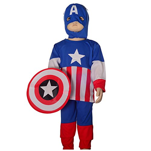 Dressy Daisy Boys' Captain America Superhero Fancy Set Costume Shield Mask Party Size 3T-4T (Kids Captain America Costume With Shield)