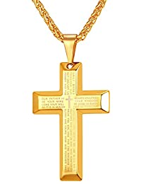 Jewelry Men's Stainless Steel Simple Black Cross Pendant Lord's Prayer Necklace 22 Inch