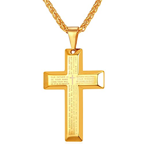 Gold cross amazon u7 jewelry men 18k gold plated simple cross pendant lords prayer necklace aloadofball Image collections