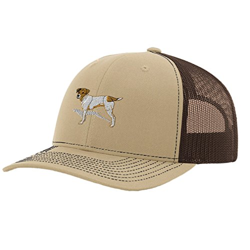Jack Russell Terrier Embroidery (Jack Russell Terrier Dog #2 Embroidery Richardson Structured Front Mesh Back Cap Khaki/Coffee)