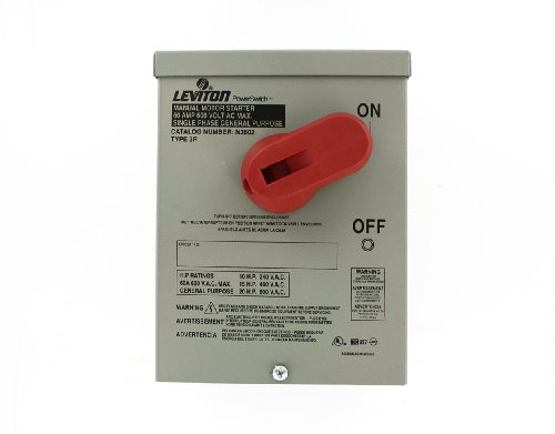Leviton N3602 60 Amp, 600 Volt, Toggle In Type 3R Enclosure, Double-Pole, AC Motor Starting Switch, Suitable as Motor Disconnect, Industrial Grade, - Starting Switch Motor