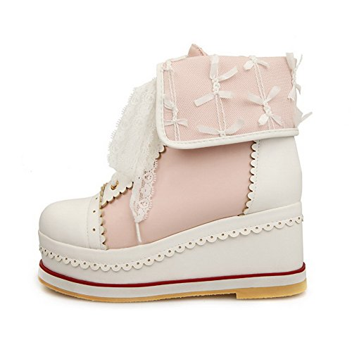 High Pink Top AgooLar Women's Heels Round Closed Lace Low Toe up Boots EEXwPr