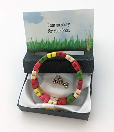 - Smiling Wisdom - Pet Loss Grief Sympathy Gift Set - Colorful Fashion Turquoise Dog Bone Stretch Bracelet Memorial - Death, Bereavement - Cute Cheer Up Jewelry for Sad Girl Teen Woman Friend