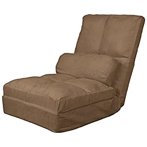 Cosmo Click Clack Convertible Futon Pillow-Top Flip Chair Child-size Sleeper Bed, Microfiber Suede Mocha Brown