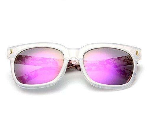 polarisées de grand des rétro Violet de des hommes et UV400 cadre Huateng femmes Lunettes non Transparent soleil classique Cadre FXA5Hnq