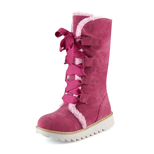 Bottes neige Bottes femmes amp;X épais QIN CXQ pour moyenne Fond pink Bottes de Chaussures pqwzxg