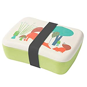 BIOZOYG Bento Lunch Box in bambù per Bambini I Porta Pranzo con Extra Scatola Snack I Scatola Merenda a Motivo - Volpe… 4 spesavip