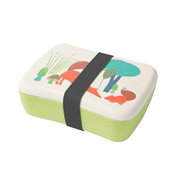 BIOZOYG Bento Lunch Box in bambù per Bambini I Porta Pranzo con Extra Scatola Snack I Scatola Merenda a Motivo - Volpe… 1 spesavip