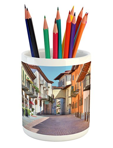 Ambesonne City Pencil Pen Holder, Town of Alba Piedmont Northern Italy Narrow Stone Paved Street Among Colorful Houses, Printed Ceramic Pencil Pen Holder for Desk Office Accessory, Multicolor