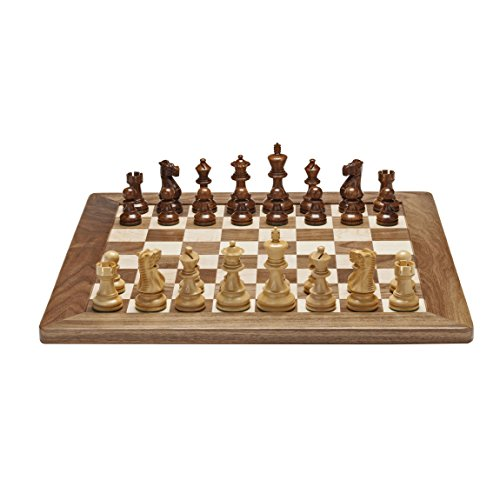 Deluxe English Chess Set - Weighted Pieces with Solid Maple & Walnut Wood Board 18 in. (Made in USA)
