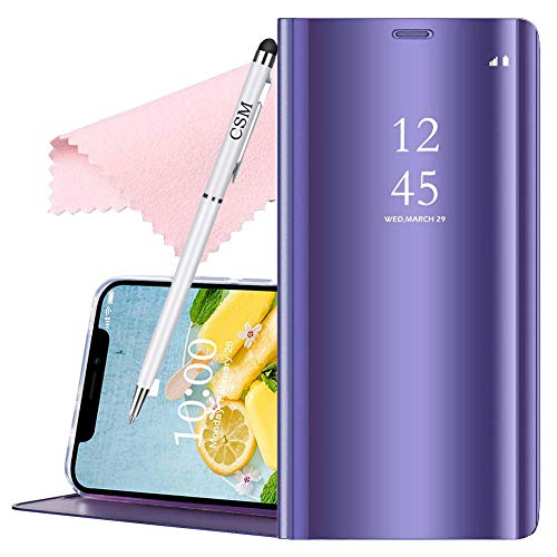 C-Super Mall Case for Samsung Galaxy A70, Transparent TPU Bumper Luxury Translucent View Mirror Flip Electroplate Stand Smart Cover- - Translucent Pen Violet