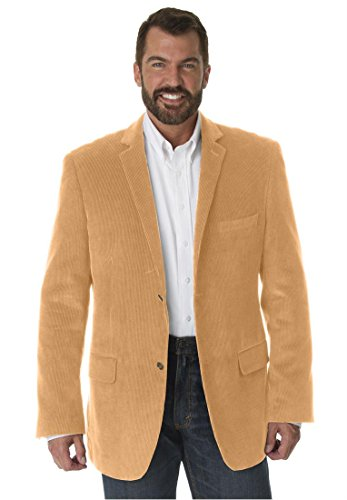 Liberty Blues Men's Big & Tall Corduroy 2-Button Blazer, Tan Tall-62