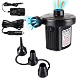 VOOCO Electric Air Pump Two-Way Air Pump with 3 Nozzles, 220V AC/12V DC 2 in 1 Portable Air Mattress Pump Universal Inflator Electric Pump for Inflatables, Paddling Pool, Airbeds, etc