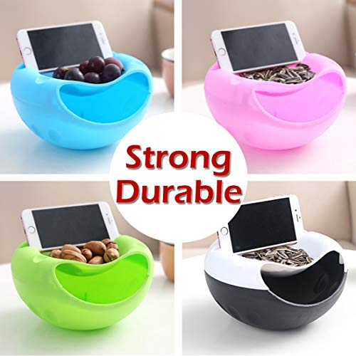 Joylive 1Pcs Bowl Double Layer Dry Fruit Contaners Snacks Seeds Storage Box Garbage Holder Plate Dish Organizer with Phone Holder by Joylive (Image #3)