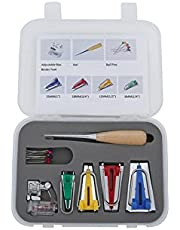 Labellevie Fabric Bias Tape Maker Kits for Sewing Quilting 6/12/18/25mm, Awl and Adjustable Binder Foot, Ball Pins with Case ( Set of 16 )