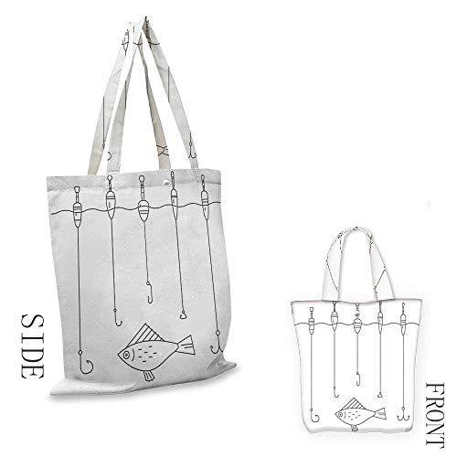 Nautical DecorPortable shopping bagIllustration of Fishing Tackle Floaters Hooks Fishing Gear Equipment Doodle Style ArtConvenient save space W15.75 x L13.78 Inch (Family Partridge Shopping Bag)