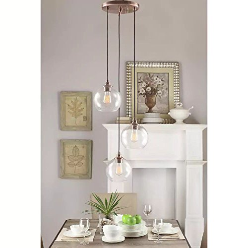 Globe Chandelier Centerpiece For Dining Rooms And Kitchen Areas. Round Light Fixture Provides Multidirectional Lighting. Glass Drop Hanging Lamp Set Suitable For High And Low Ceilings. 17