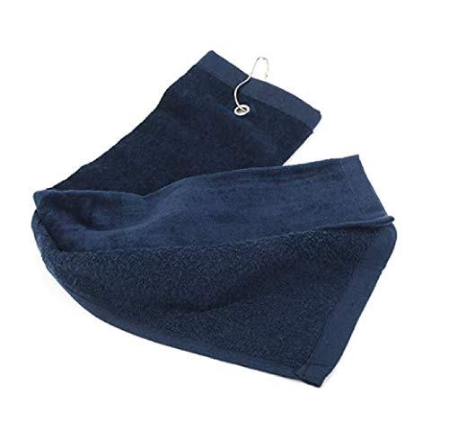 ((Set Of 2) Eco Online Market Terry Velour Tri-Fold Golf Towel with Metal Clip Cotton Terry-Cloth Hang on Golf, Size 16 x 25 Inches (Navy, 2) )