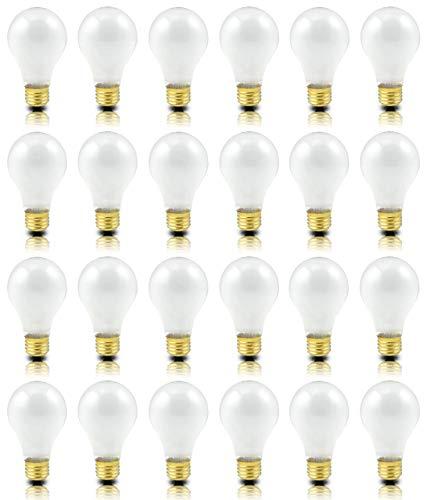 (Pack of 24) Incandescent 100 Watt A19 Light Bulb: Frosted Standard Household E26 Medium Base Rough Service Light Bulbs